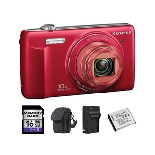 Olympus VR-340 16MP Red Digital Camera 16GB Bundle