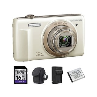 Olympus VR-340 16MP White Digital Camera 16GB Bundle