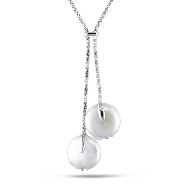 Miadora Sterling Silver White Pearl Lariat Necklace (16 mm)