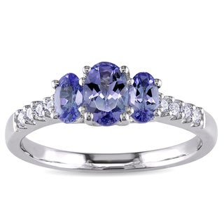 Miadora 10k White Gold Tanzanite and 1/10ct TDW Diamond 3-stone Ring (I2-I3)