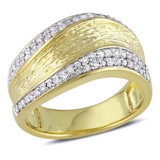 Haylee Jewels Yellowplated Silver 1/4ct TDW Diamond Ring (H-I, I2-I3)
