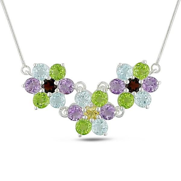 Miadora Sterling Silver Multi-gemstone Flower Necklace