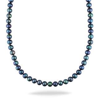 Miadora 14k White Gold Black Pearl Necklace (8-9 mm)