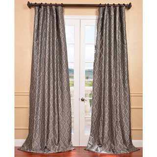 Silver Faux Silk Jacquard Pole Top Curtain Panel