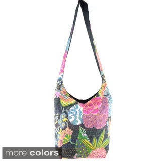 Handmade Bucket Kantha Stitched Cross-body Bag (India)