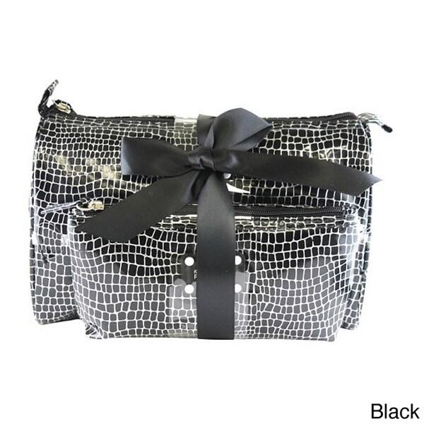 Kenneth Cole Reaction 2-Piece Croc Print Cosmetic Bag Set