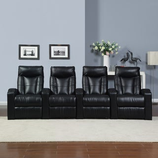 ProLounger Home Theater Black Renu Leather 4 Piece Wall Hugger Recliner Chair Set