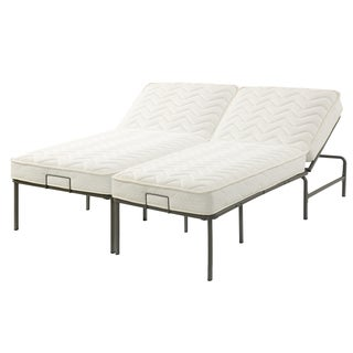 Recline-a-Bed Adjustable Metal Gray Frame and California King-size Mattress Set