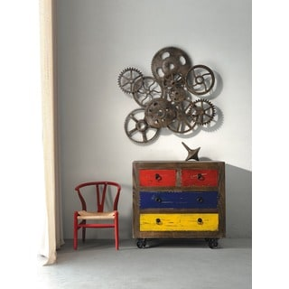 Ramsell Multicolor Distressed Natural Poplar/Plywood Cabinet