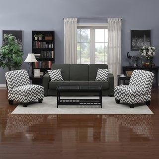 Portfolio Mali Convert A Couch Charcoal Gray Linen Futon Sofa Sleeper And Set Of 2 Gray Chevron