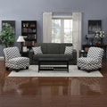 Portfolio Mali Convert-a-Couch Charcoal Gray Linen Futon Sofa Sleeper and set of 2 Gray Chevron Stripe Armless Chairs