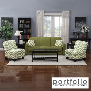Portfolio Mali Convert-a-Couch Apple Green Linen Futon Sofa Sleeper and set of 2 Green Stripe Chevron Armless Chairs
