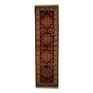 Indo Hand-knotted Kazak 2'2 x 6'6 Traditional Red/ Ivory Wool Runner Rug (India)