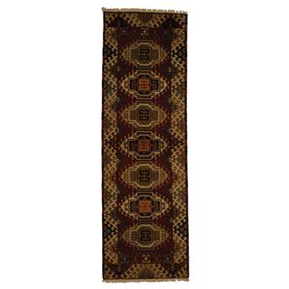 Indo Hand-knotted Kazak 2'2 x 6'6 Red/ Ivory Wool Runner Rug (India)