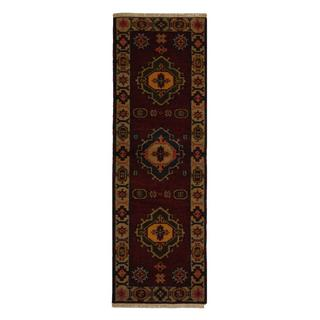 Indo Hand-knotted Kazak 2'2 x 6'6 Red Wool Runner Rug (India)