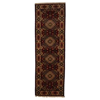 Indo Hand-knotted Kazak 2'2 x 6'6 Ivory/ Red Wool Runner Rug (India)