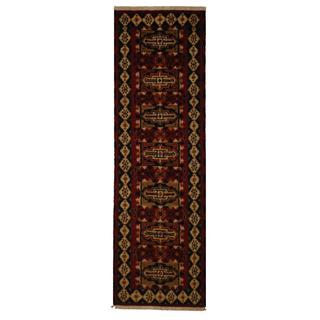 Indo Hand-knotted Kazak 2'2 x 6'6 Traditional Red Wool Runner Rug (India)