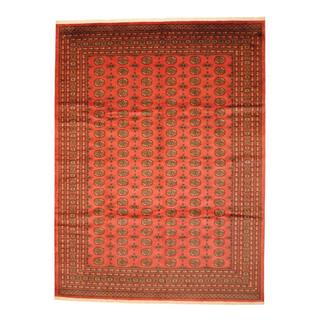 Pakistan Hand-knotted Prince Bokhara Peach/ Ivory Wool Rug (9' x 12')