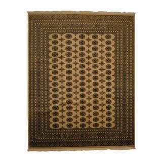 Herat Oriental Pakistan Hand-knotted Prince Bokhara Beige/ Ivory Wool Rug (8' x 10')