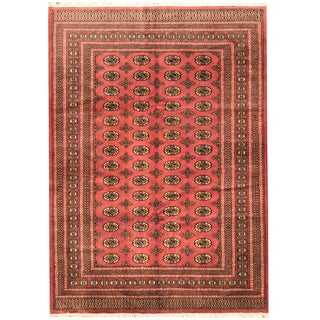 Pakistan Hand-knotted Prince Bokhara Peach/ Ivory Wool Rug (6' x 9')