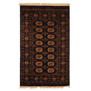 Pakistan Hand-knotted 3 x 5-foot Prince Bokhara Black and Ivory Wool Rug