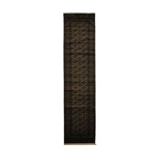 Pakistan Hand-knotted Prince Bokhara Light Grey/ Ivory Wool Rug (2'6 x 10')