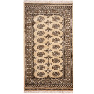 Herat Oriental Pakistan Hand-knotted Prince Bokhara Beige/ Ivory Wool Rug (3' x 5')