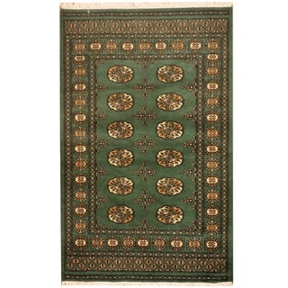 Pakistan Hand-knotted Prince Bokhara Green/ Ivory Wool Rug (3' x 5')