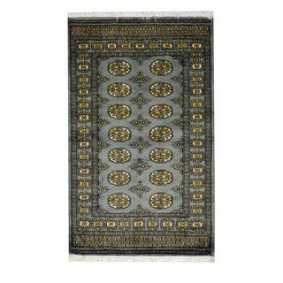 Herat Oriental Pakistan Hand-knotted Prince Bokhara Grey/ Ivory Wool Rug (3' x 5')