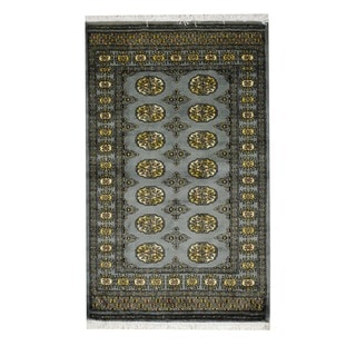 Pakistan Hand-knotted Prince Bokhara Grey/ Ivory Wool Rug (3' x 5')