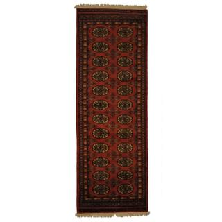 Pakistan Hand-knotted Prince Bokhara Peach/ Ivory Wool Rug (2' x 6')