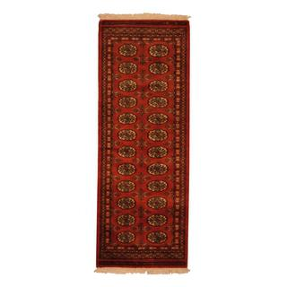 Herat Oriental Pakistani Hand-knotted Bokhara Rust and Ivory Wool Runner Rug (2' x 6')