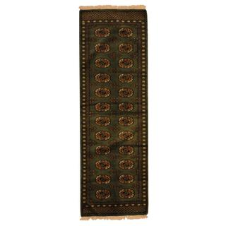 Pakistan Hand-knotted Prince Bokhara Green/ Ivory Wool Rug (2' x 6')