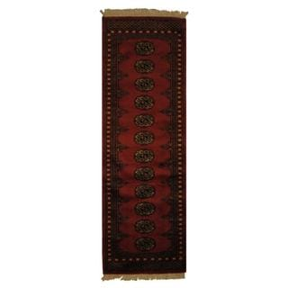Pakistan Hand-knotted 2 x 6-foot Prince Bokhara Dark peach and Ivory Wool Rug