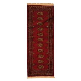Herat Oriental Pakistan Hand-knotted Prince Bokhara Red/ Ivory Wool Rug (2' x 6')