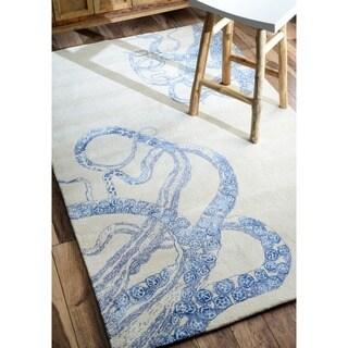 nuLOOM Handmade Octopus Tail Faux Silk / Wool Ivory Rug (5' x 8')