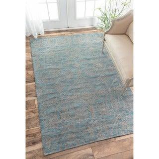 nuLOOM Handmade Parisian Blue Wool Rug (6' x 9')