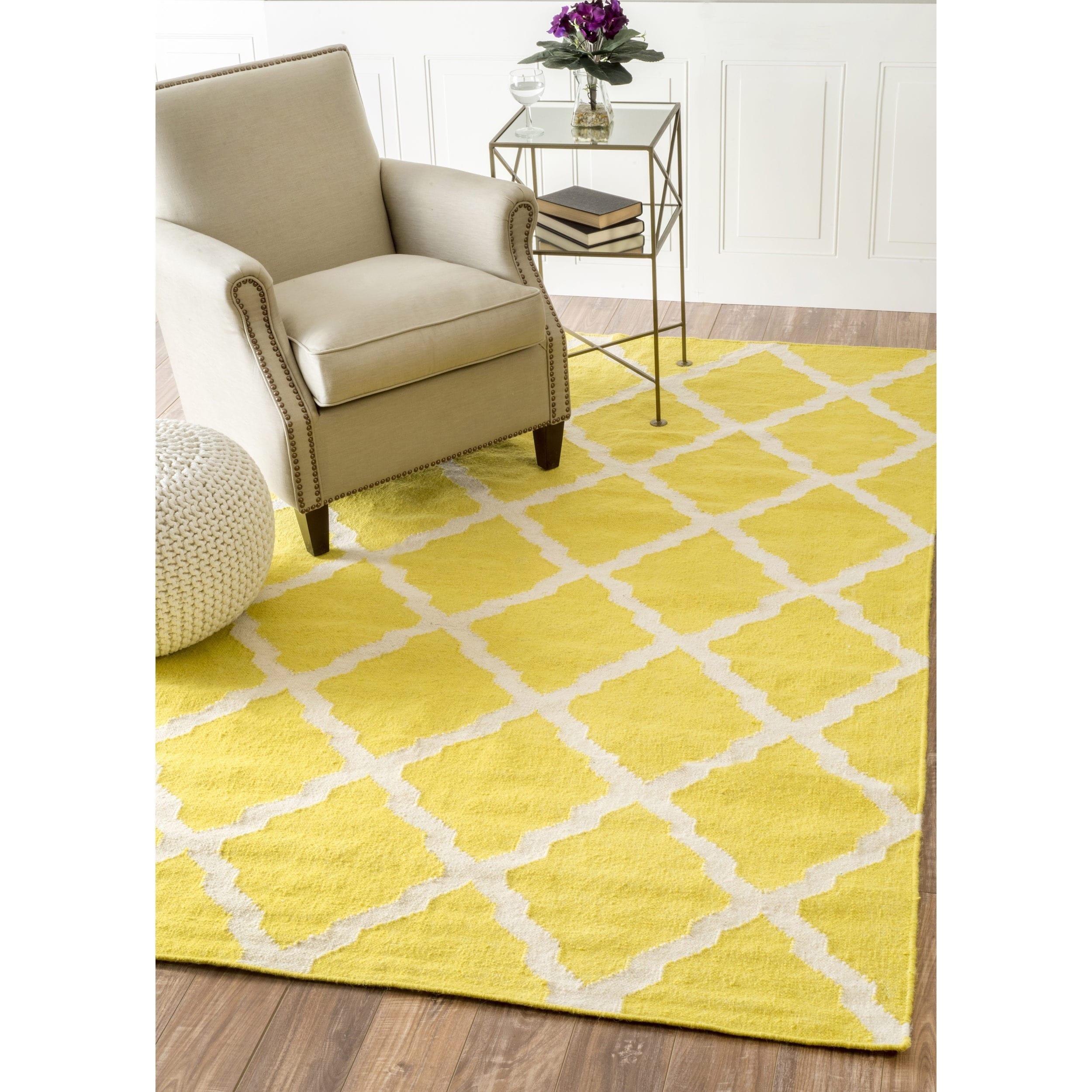 NuLOOM Moroccan Trellis Flatweave Kilim Yellow Wool Rug (7