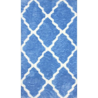 nuLOOM Modern Faux Sheepskin Lattice Trellis Blue Shag Rug (5' x 8')