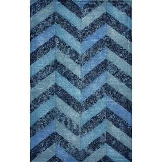 nulOOM Handmade Overdyed Blue Wool Chevron Rug (7'6 x 9'6)