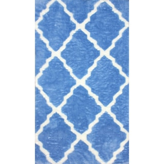 nuLOOM Modern Faux Sheepskin Lattice Trellis Blue Shag Rug (7'6 x 9'6)