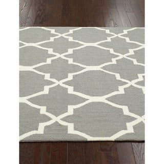 nuLOOM Handmade Lattice Grey Wool Rug (8'6 x 11'6)