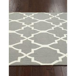 nuLOOM Handmade Lattice Grey Wool Rug (8'6 x 11'6)