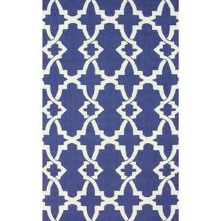 nuLOOM Handmade Modern Trellis Blue Wool Rug (8'6 x 11'6)