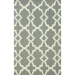 nuLOOM Handmade Modern Trellis Grey Wool Rug (8'6 x 11'6)