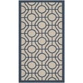 Safavieh Indoor/ Outdoor Courtyard Beige/ Navy Rug (2' x 3'7)