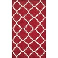 Safavieh Hand-woven Moroccan Dhurries Red/ Ivory Wool Rug (2'6 x 4')