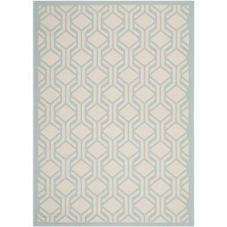 Safavieh Indoor Outdoor Courtyard Beige Aqua Rug 4 x 5