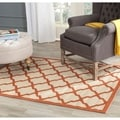 Safavieh Indoor/ Outdoor Courtyard Beige/ Terracotta Polypropylene Rug (4' x 5'7)