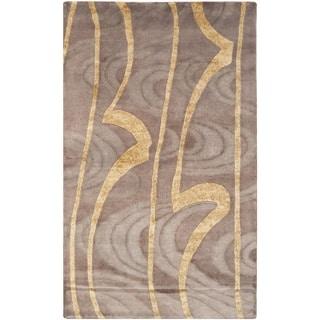 Safavieh Hand-knotted Tibetan Brown/ Gold Wool/ Silk Rug (3' x 5')